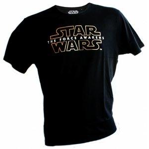 Star Wars Episode 7 T-shirt Goud Logo (zwart)