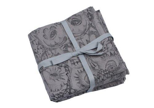 Soft Gallery Muslin Swaddle Owl Grey - Set van 3