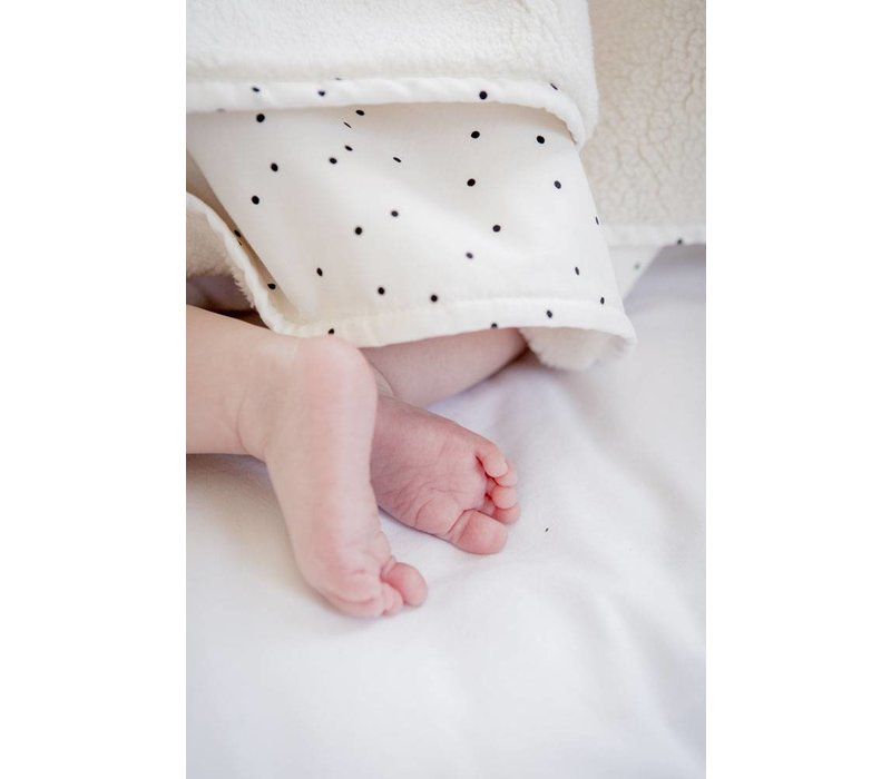 baby soft teddy deken - adorable dot offwhite 70x100