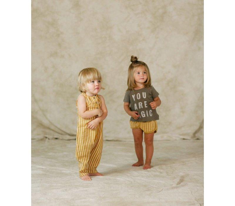 pinstripe track shorts - mustard