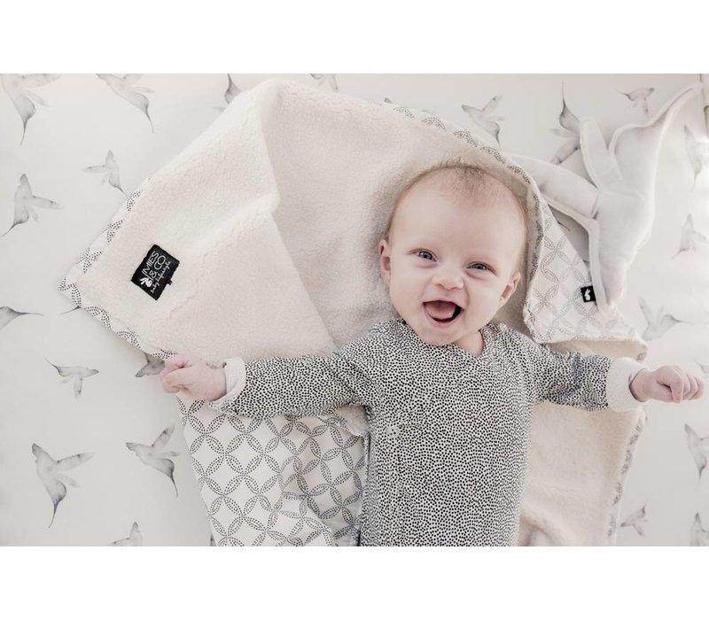 baby soft teddy deken - geo circles offwhite