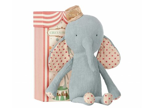 Maileg coming soon - circus friends elephant with hat - blue