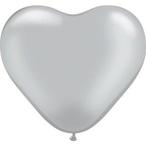 Herzballon silber-metallic