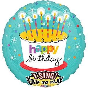 Singender Ballon Happy Birthday Torte mit ca. 70 cm Durchmesser