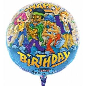 Singender Ballon Happy Birthday Rapper mit ca. 70 cm Durchmesser
