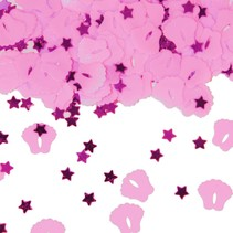 Tafelconfetti Voetjes Roze 1cm 600 stuks