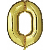 Folie Ballon Cijfer 0 Goud XL 86cm leeg