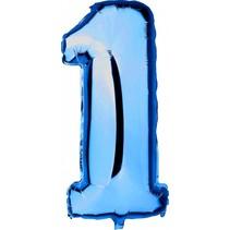 Folie Ballon Cijfer 1 Blauw XL 86cm leeg