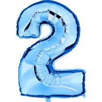 Folie Ballon Cijfer 2 Blauw XL 86cm leeg