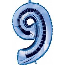 Folie Ballon Cijfer 9 Blauw XL 86cm leeg