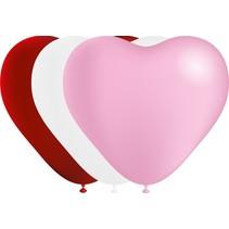 Hartjes Ballonnen Rood/Wit/Roze 25cm 6 stuks