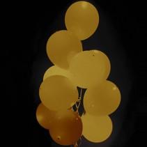 Gouden Led Ballonnen Metallic met schakelaar 30cm 4 stuks