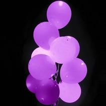 Lavendel Led Ballonnen Metallic met schakelaar 30cm 4 stuks