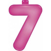 Opblaascijfer 7 Roze 35cm