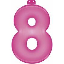 Opblaascijfer 8 Roze 35cm