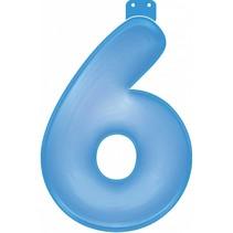 Opblaascijfer 6 Blauw 35cm