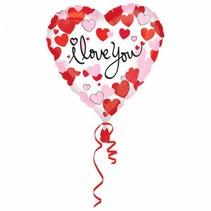 Helium Ballon Hart I Love You Hartjes 45cm leeg