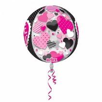 Helium Ballon Rond Roze Hartjes 40cm leeg