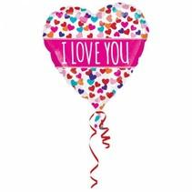 Helium Ballon I Love You Roze 63cm leeg