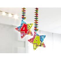Hangdecoratie 4 Jaar 75cm 2 stuks