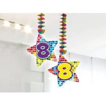 Hangdecoratie 8 Jaar 75cm 2 stuks