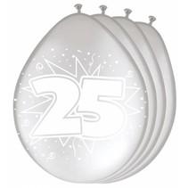 Ballonnen 25 Zilver Metallic 30cm 8 stuks