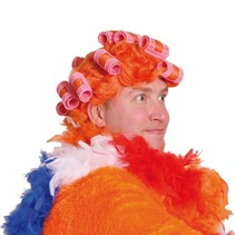 Oranje Pruik met krulspelden