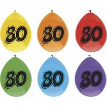 Ballonnen 80 Jaar Party 25cm 6 stuks