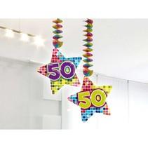 Hangdecoratie 50 Jaar 75cm 2 stuks