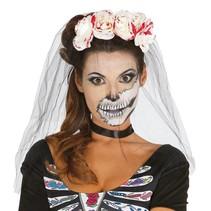 Halloween Haarband Bloemen met bloed en sluier