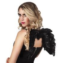 Engelen Vleugels Zwart met glitters 48cm