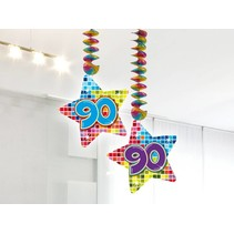 Hangdecoratie 90 Jaar 75cm 2 stuks