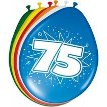 Ballonnen 75 Jaar 30cm 8 stuks