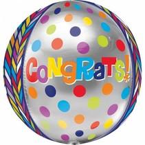 Helium Ballon Gefeliciteerd Rond 40x30cm leeg