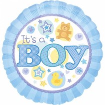 Helium Ballon Geboorte Jongen It's a Boy 43cm leeg