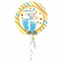 Helium Ballon Geboorte Jongen Welkom 43cm leeg