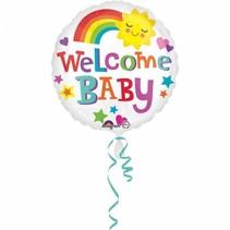Helium Ballon Geboorte Welkom Baby Regenboog 43cm leeg