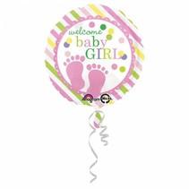 Helium Ballon Geboorte Meisje Welkom 43cm leeg