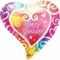 Helium Ballon Happy Birthday Hart 43cm leeg