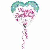 Helium Ballon Happy Birthday Stip Hart 43cm leeg