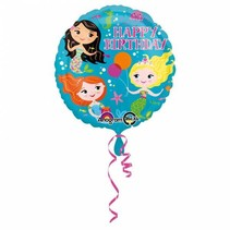 Helium Ballon Happy Birthday Zeemeermin 43cm leeg