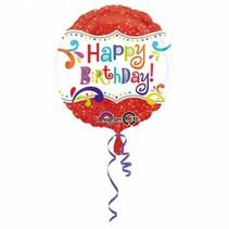 Helium Ballon Happy Birthday Rood Glitter 43cm leeg