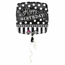 Helium Ballon Happy Birthday Zwart & Wit 43cm leeg