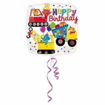 Helium Ballon Happy Birthday Bouw 43cm leeg