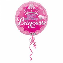 Helium Ballon Happy Birthday Princess Roze 43cm leeg
