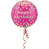 Helium Ballon Happy Birthday Roze Dots 43cm leeg