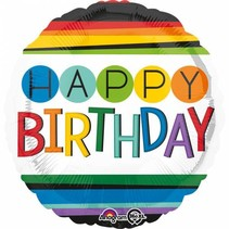 Helium Ballon Happy Birthday Regenboog 43cm leeg