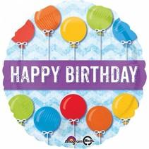 Helium Ballon Happy Birthday Ballonnen Blauw 43cm leeg