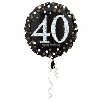 Helium Ballon 40 Jaar Zilver 43cm leeg