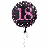 Helium Ballon 18 Jaar Roze 43cm leeg